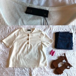 SEED Ivory Button Blouse